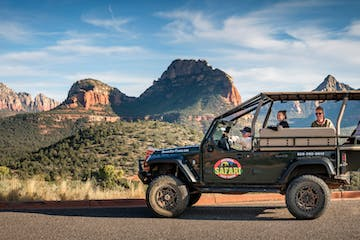 jeep among red rocks