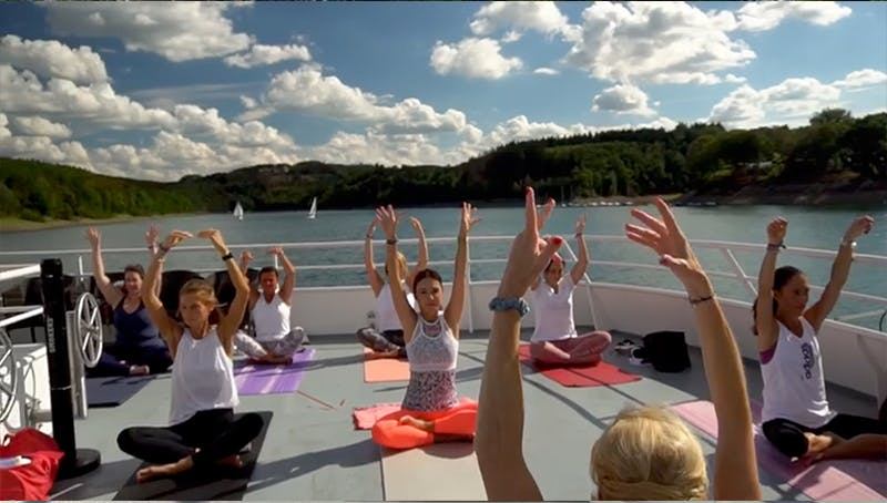 yoga class on the boat