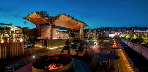 Photo of LP Rooftop Bar in Los Angeles at night