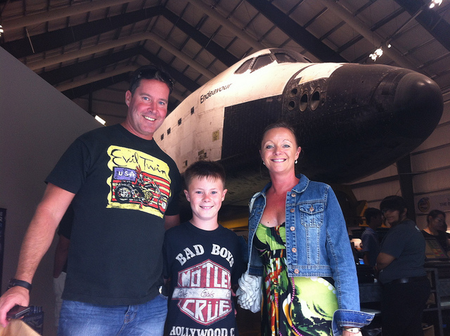 Family on LA Insider Tours at the Space Shuttle Endeavour at the California Science Center.