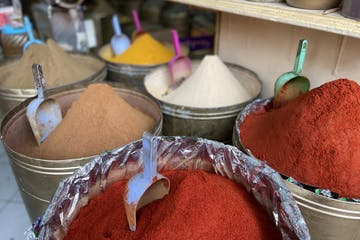multiple cones of spices in a jar in Marrakech