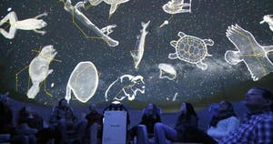 guests viewing First Nations constellations inside The Jasper Planetarium dome theatre