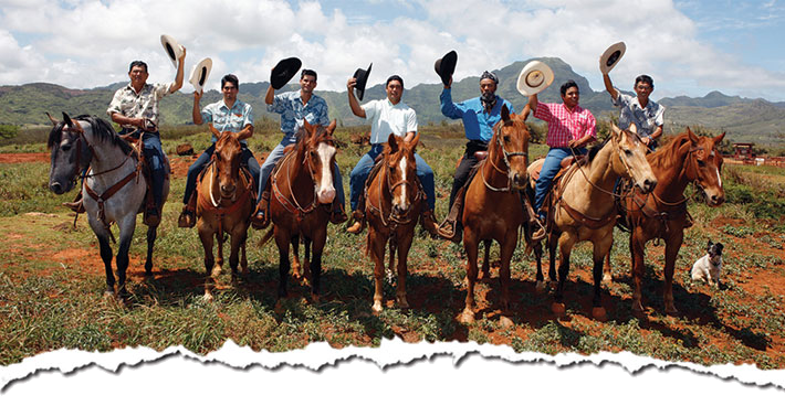 a group of people riding on the back of a horse