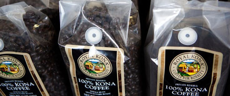Bags of Royal Kona coffee at the factory