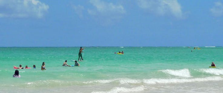 Crowd enjoying a beach day on Maui