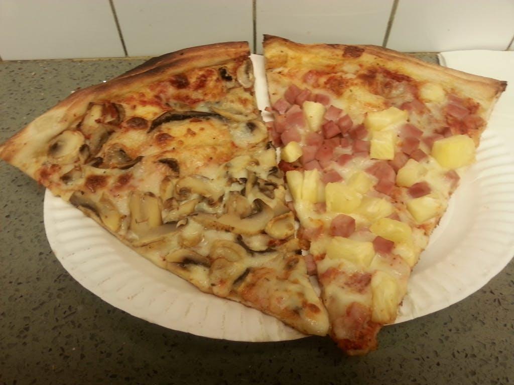 2 Bros Pizza Mushroom and Hawaiin Slice