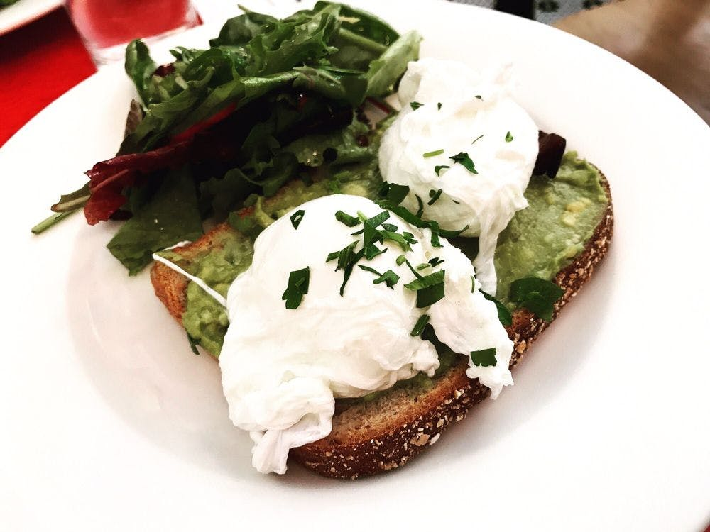 Fiat Cafe Avocado Toast with Poached Eggs