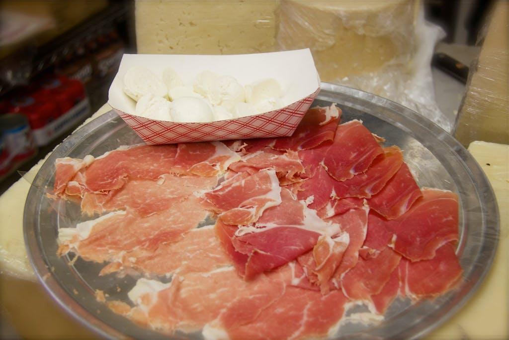 Alleva Mozzarella and prosciutto tasting
