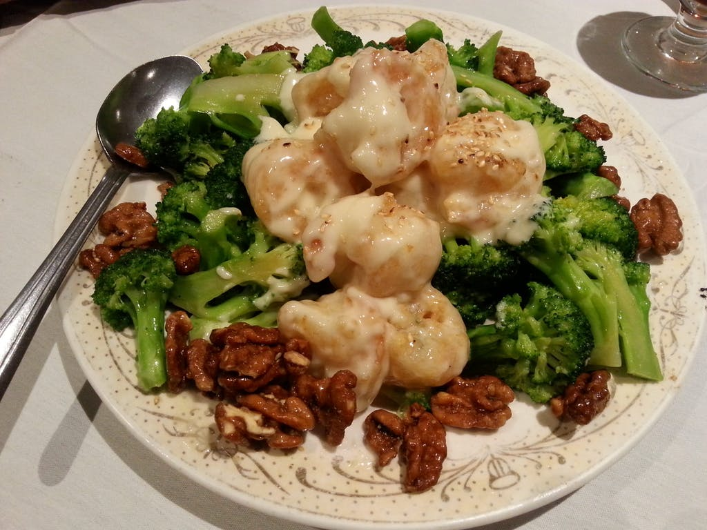 Ping's Seafood Shrimp and Walnuts in Cream Sauce