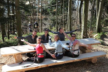 a group of people sitting at a picnic table