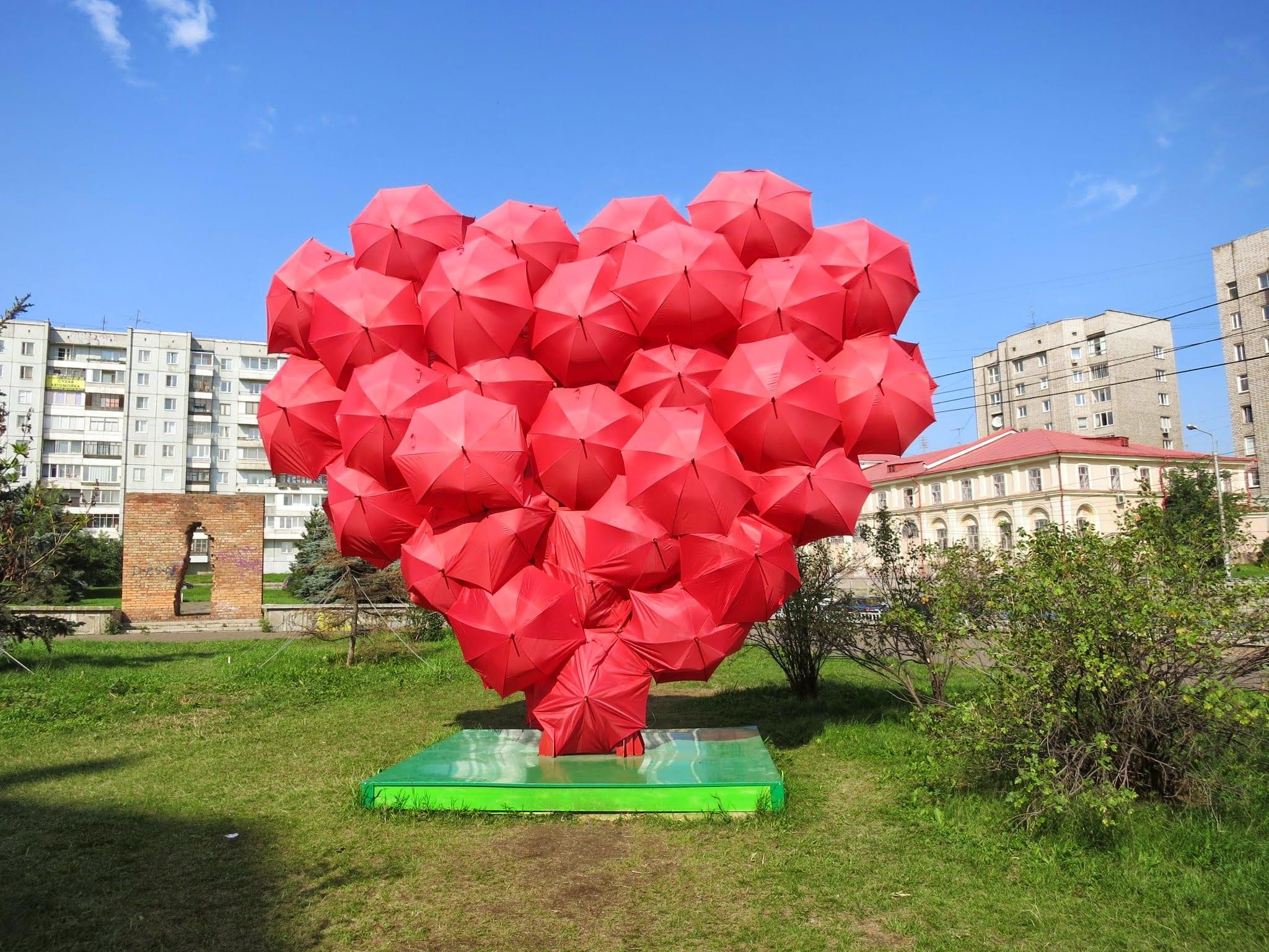 City decoration in Krasnoyarsk Siberia