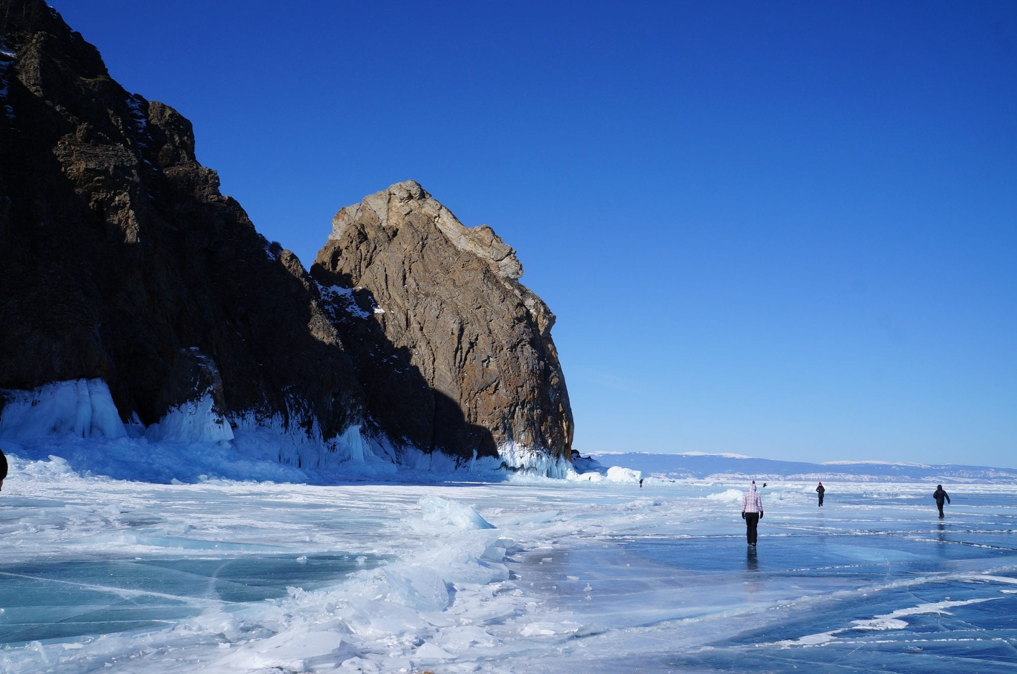 Trans-Siberian Lake Baikal view in winter
