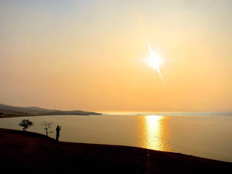 sunset on Baikal lake