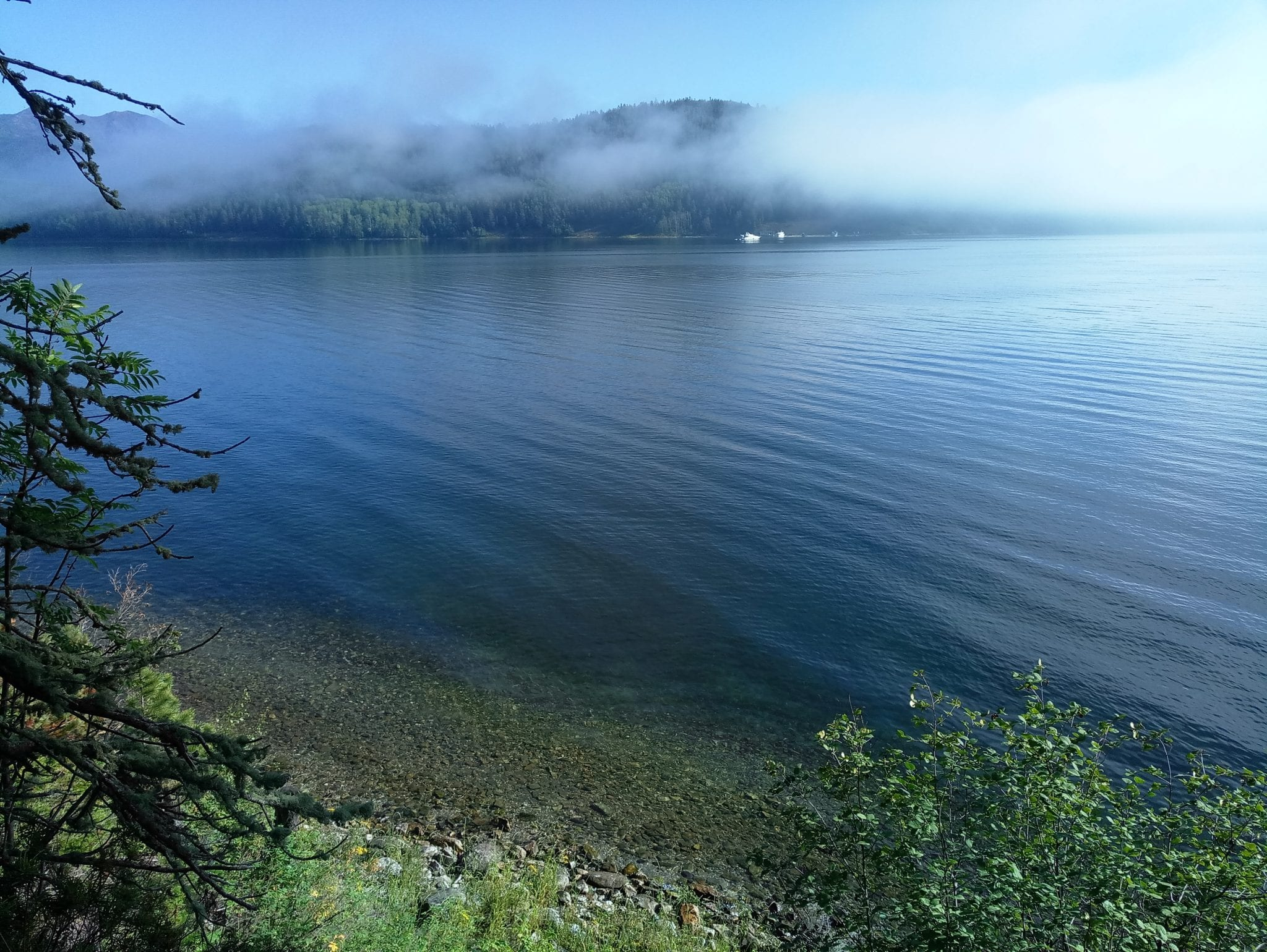 Blue water of the Lake Baikal