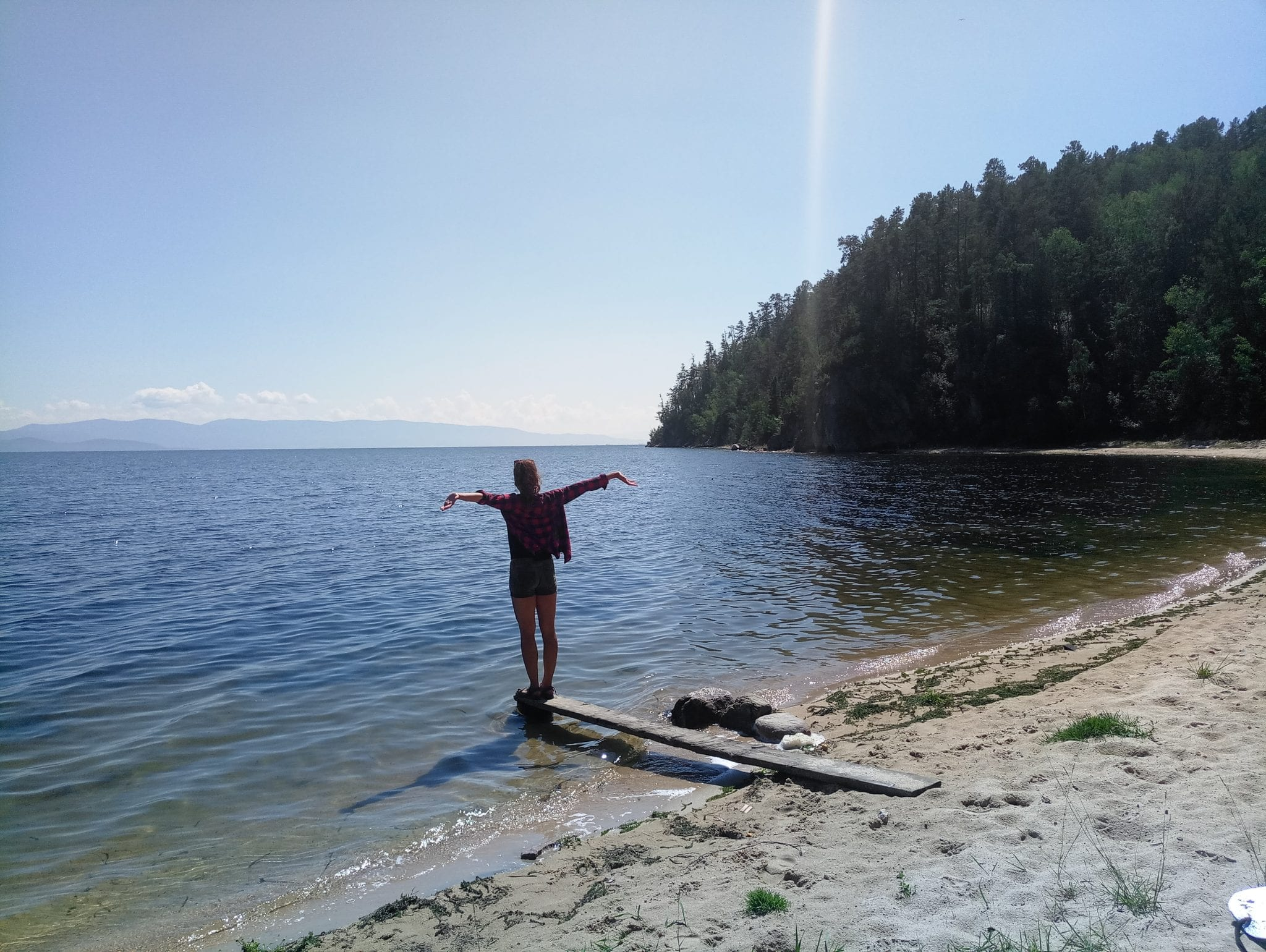 Tourist on the Lake Baikal