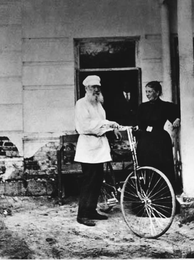 Leo Tolstoy on a bicycle