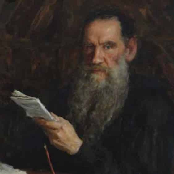 Leo Tolstoy with a book