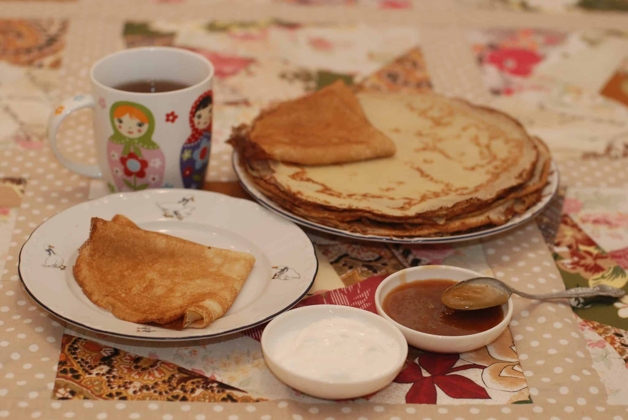 Russian pancakes with honey Russian food