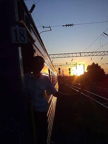 Le coucher de soleil lors du voyage Transsibérien
