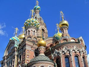 a close up of a church with Church of the Savior on Blood in the background