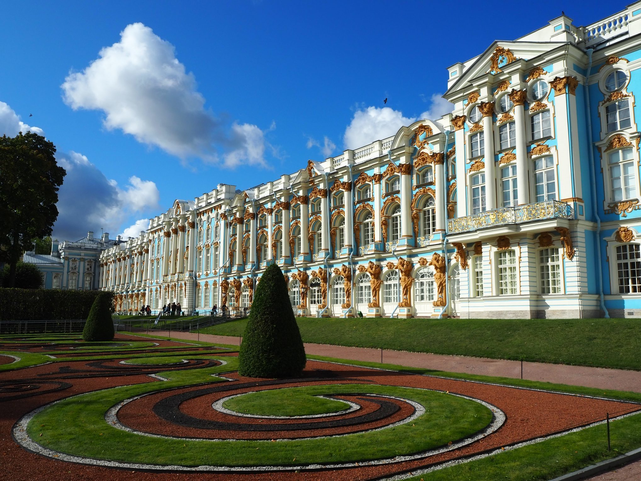a large building with Catherine Palace in the background
