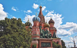 a close up of a church with Saint Basil's Cathedral in the background