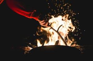a fire in the dark