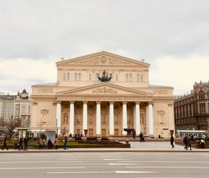 a large building with Bolshoi Theatre in the background