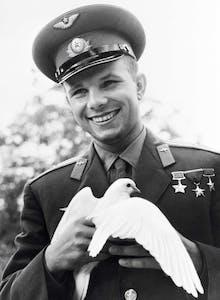 Yuri Gagarin wearing a hat