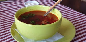 a bowl of soup on a table