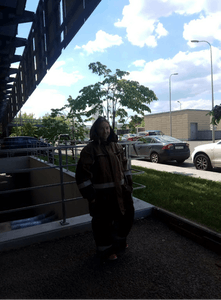 a person standing on a bridge over a road