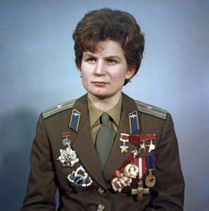 Valentina Tereshkova wearing a uniform posing for the camera