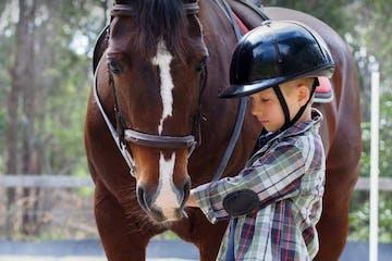 a young boy riding a horse