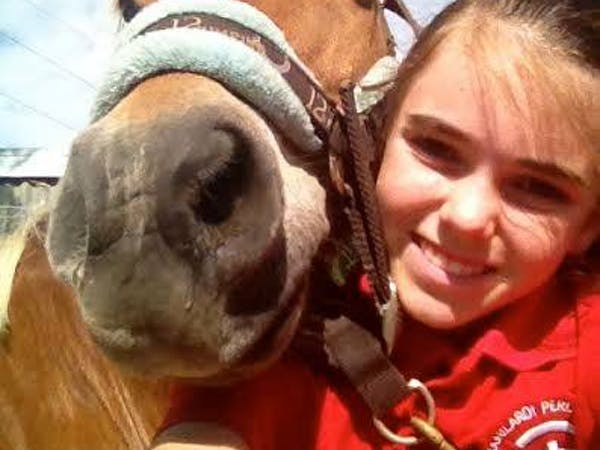 a close up of a girl petting a horse