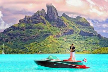 A couple doing a photo shoot in Bora Bora
