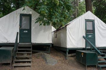 a tent in a yard