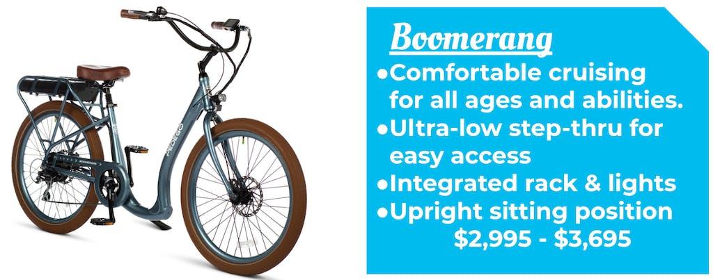 Trail Tracker Pedego Boomerang Low step thru cruiser Ebike Bike