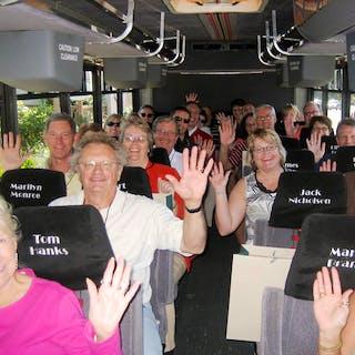 Tour group on the Monterey Movie Tours bus