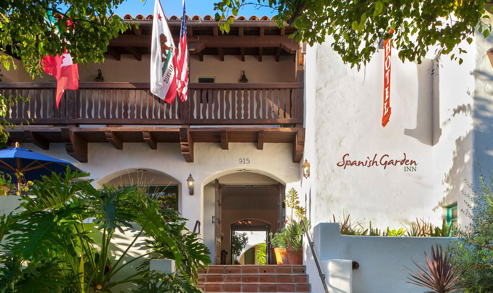 Exterior entrance to Spanish Garden Inn in Santa Barbara