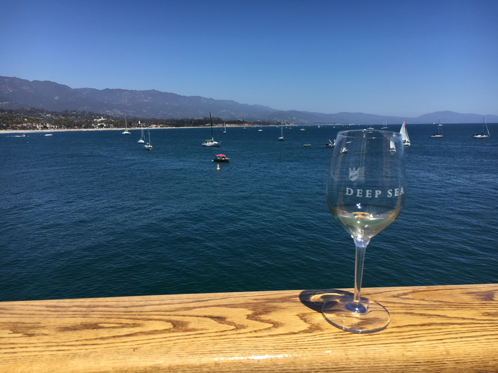 Wine tasting wine glass on Stearns Wharf
