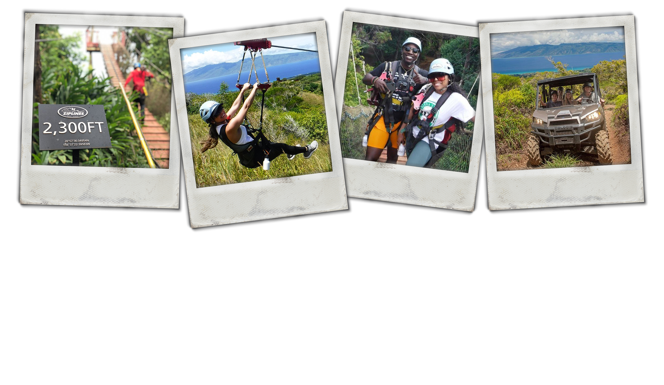 Montage of 4 photos - person climbing the ladder to zipline, smiling woman ziplining, smiling couple, people riding in ATV