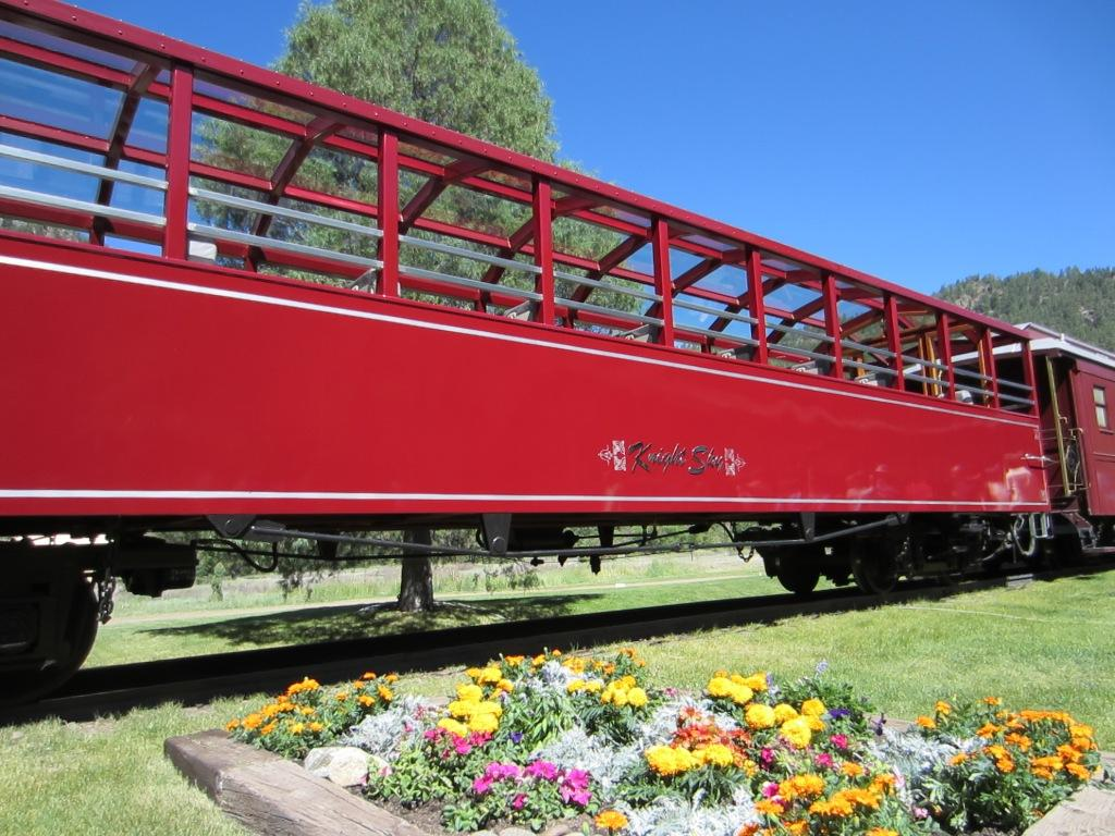 The Knight Sky Durango train carries passengers to Soaring Tree Top Adventures.