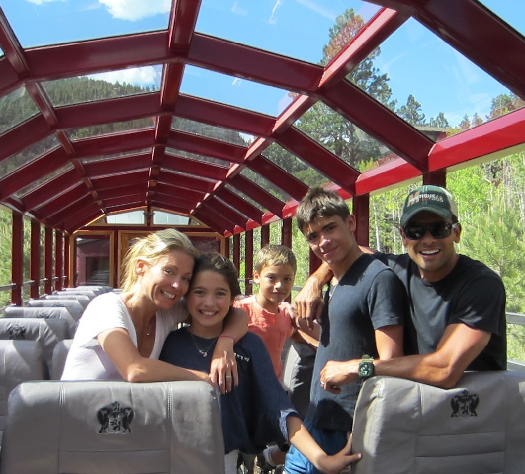 Kelly Ripa, Mark Consuelos and their children ride the Durango train at Soaring Tree Top Adventures.