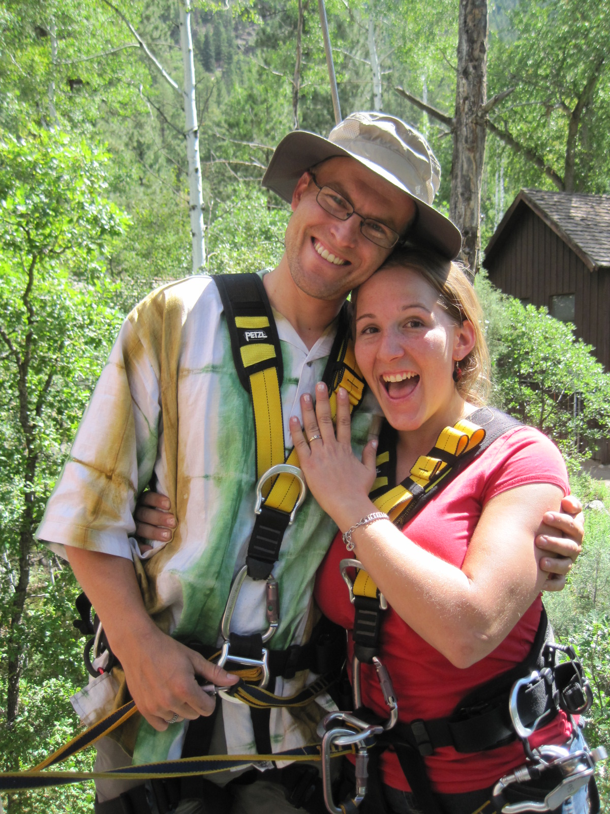 A couple celebrates their engagement at Soaring Tree Top Adventures