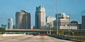 A car driving into Orlando