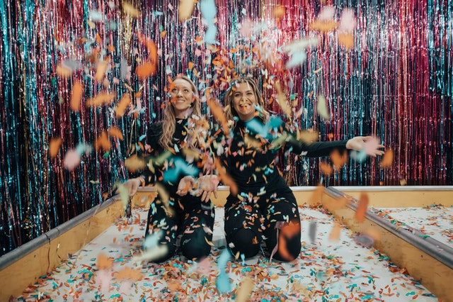 a bachelorette party with a lot of confetti