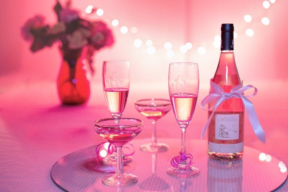 pink beverages with pink background during a pink party.