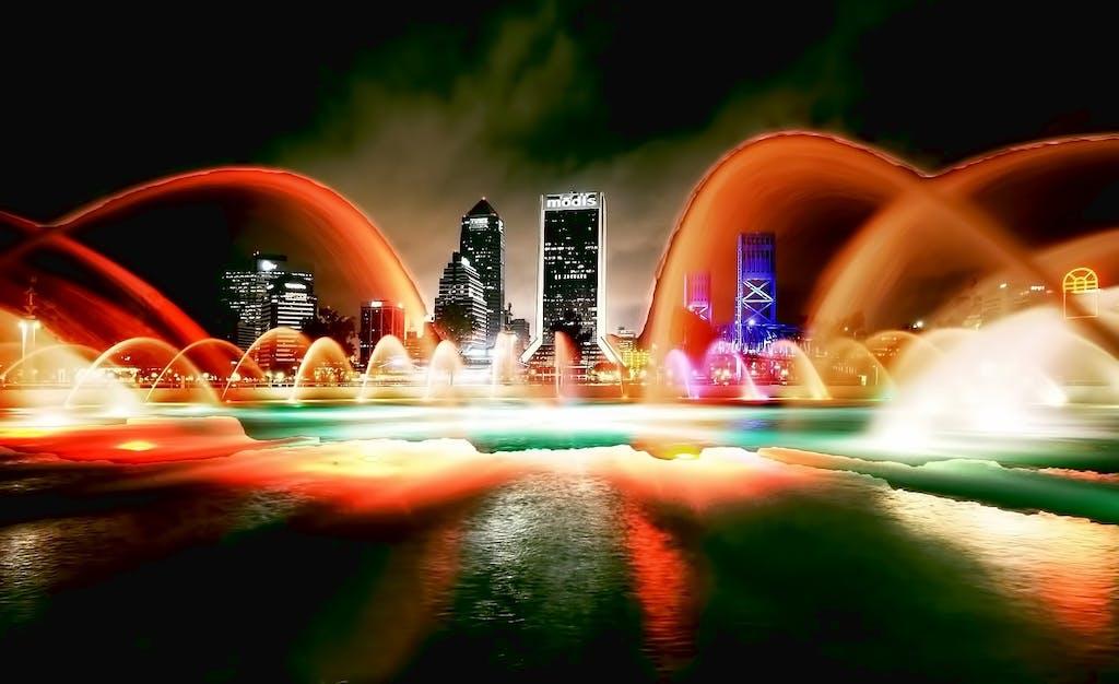 Jacksonville, FL skyline at night.