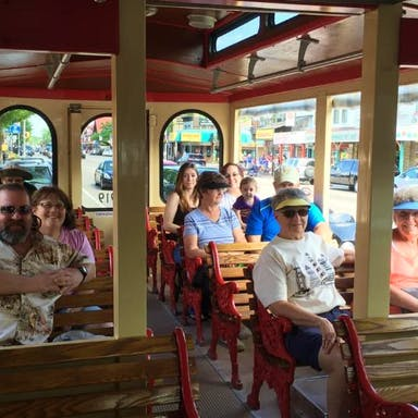 Group sitting on the Wisconsin Dells Trolley
