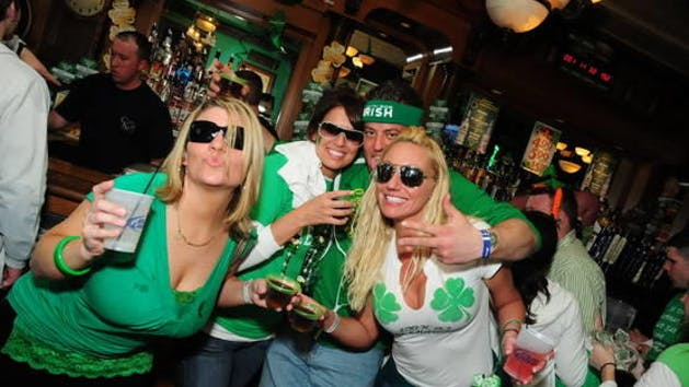 Group celebrating st patricks day